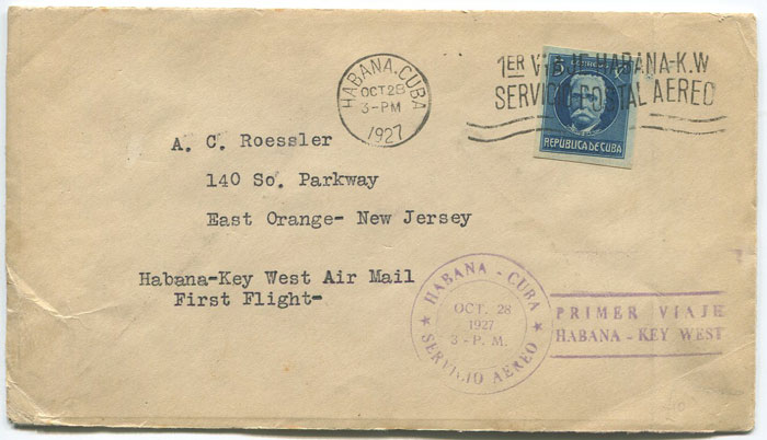 1927 (28 Oct) First Flight Cover from Havana to Key West