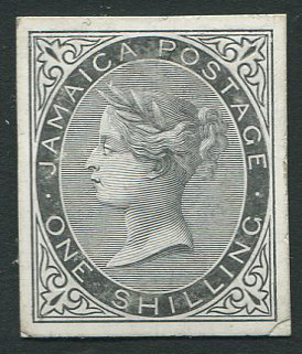 1860-3 Jamaica Pines issue:  1/- cut down die proof on glazed card.