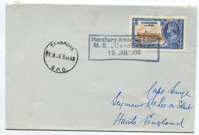 1936 (19 Jan) cover with St Kitts 1925 Jubilee 2½d tied by boxed