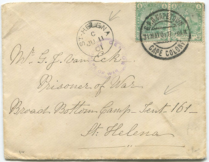1901 cover from C.O.G.H. to Boer War prisoner on St Helena