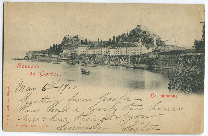 1900 postcard from Corfu to U.S.A.