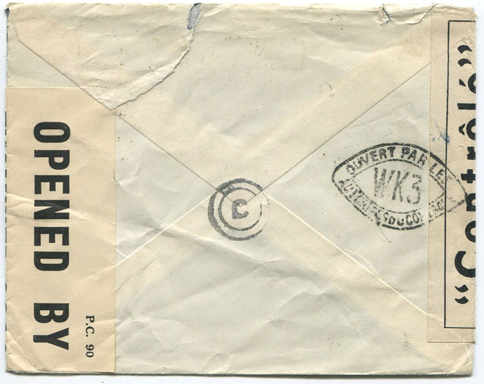 1942 (Apr) airmail censored cover from France to U.S.A. via Bermuda
