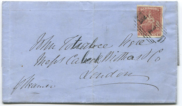 1859 (27 Dec) Barbados 1859 6d rose red on cover to London.