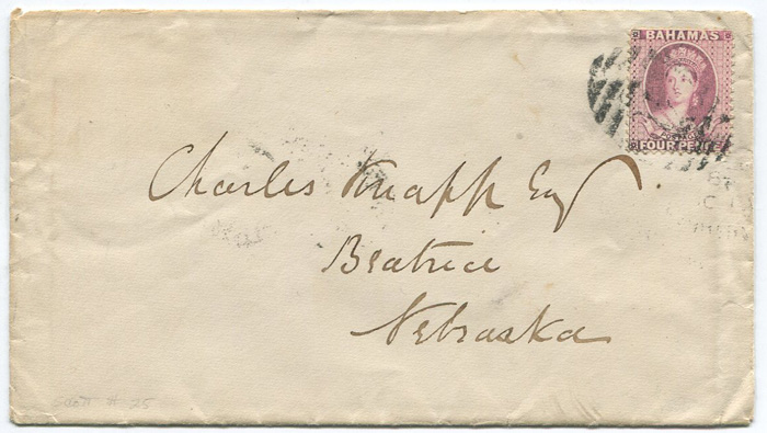 1885 (17 Oct) Bahamas 4d rose (SG41) on cover to Nebraska