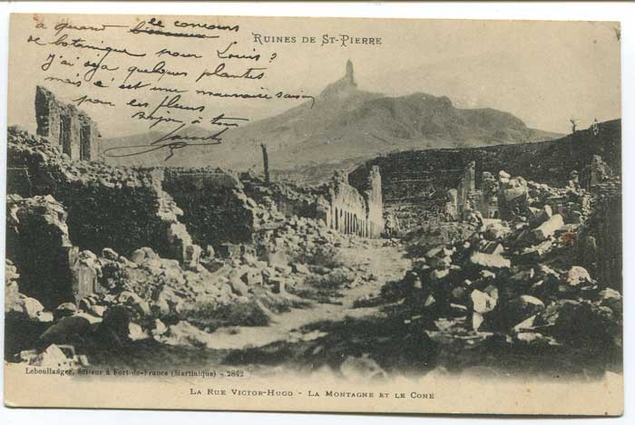 1904 MARIN MARTINIQUE blue cds on postcard to France.