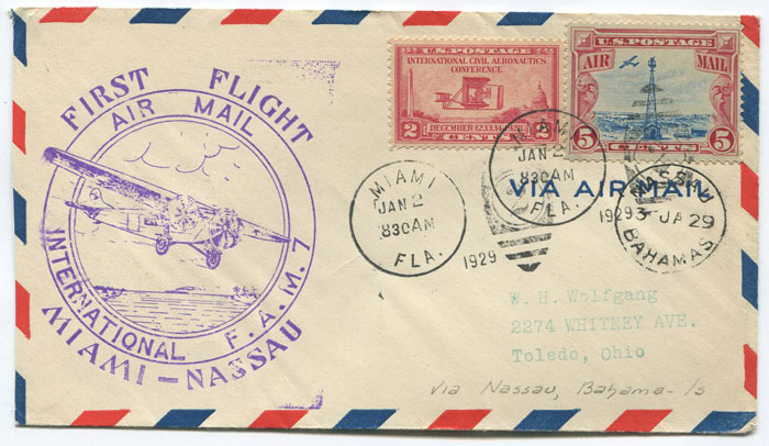 1929 (2 Jan) First Flight Miami - Nassau per F.A.M. 7 cover.