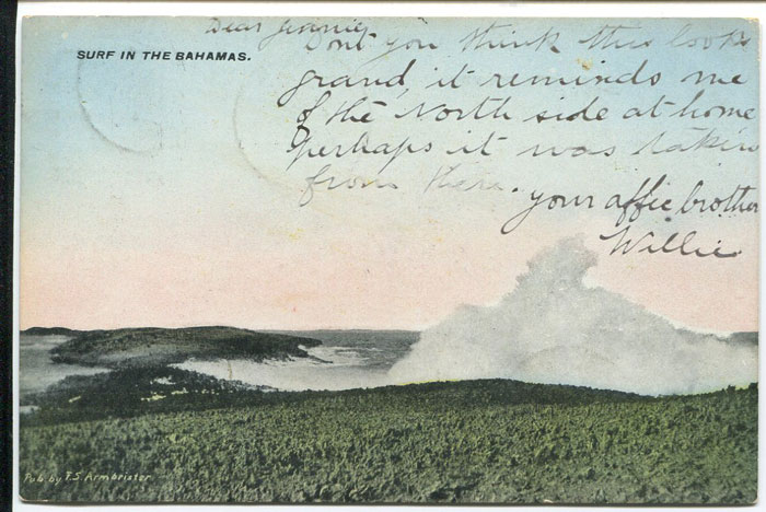 1909 GOVERNORS HARBOUR cds on Bahamas postcard.