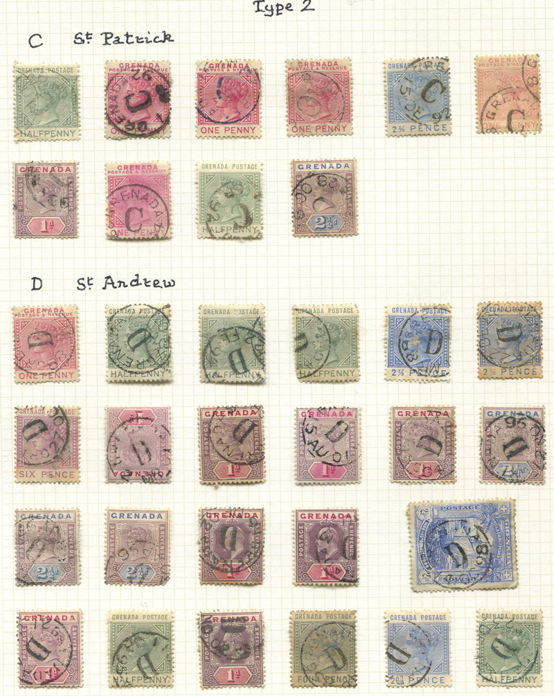 GRENADA POSTMARKS: Small collection on leaves.