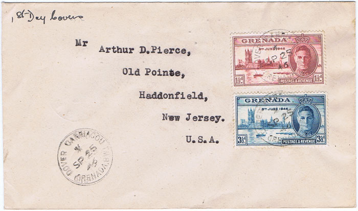 1946 (25 Sep) DOVER CARIACOU GRENADA cds on cover to U.S.A.