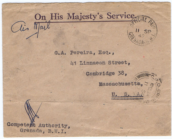 1947 (11 Sep) OFFICIAL PAID GRENADA cds on cover to U.S.A.