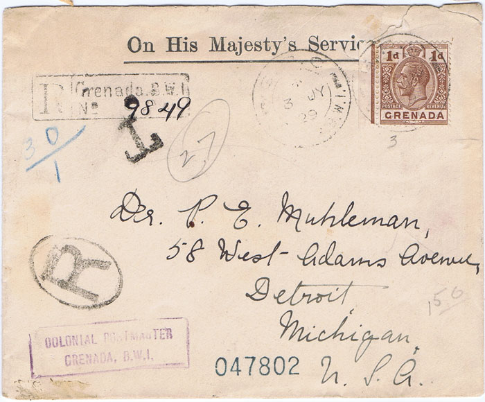 1929 (3 July) Grenada registered cover to U.S.A. under franked with 1d.