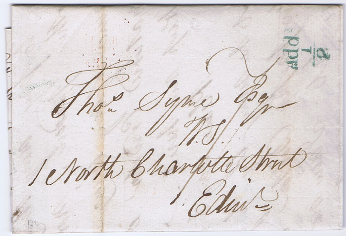 1830 (20 May) STIRLING unboxed Add! ½ in green on EL to Edinburgh.
