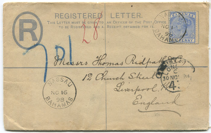 1894 Bahamas postal stationery 2d registered envelope