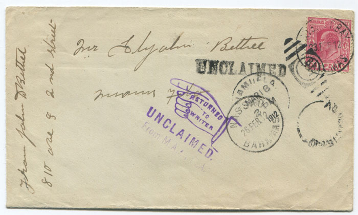 1912 Bahamas cover with HATCHET BAY cds (7i) and UNCLAIMED h/s (X3)
