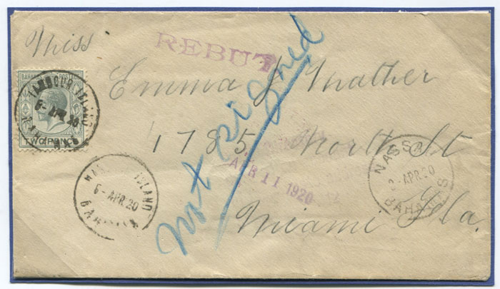 1920 Bahamas cover with HARBOUR ISLAND cds.