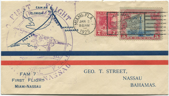1929 first flight cover Miami - Nassau per FAM 7