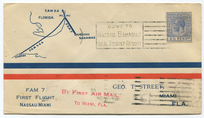 1929 (2 Jan) first flight cover Nassau - Miami per FAM 7