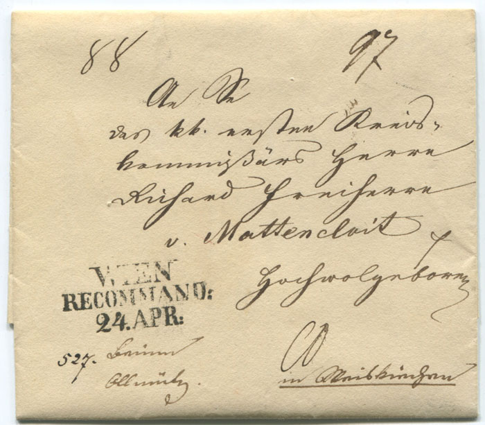 1838 EL with fine WIEN RECOMMAND 24 APR h/stamp.