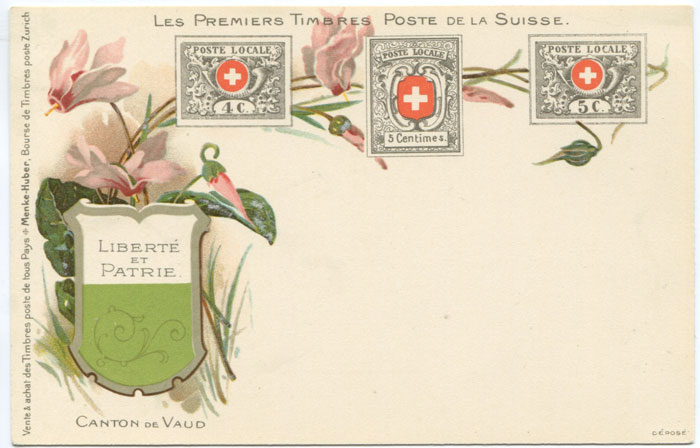 1902 (circa) early undivided back postcard of Swiss Cantonal stamps.