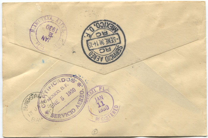 1930 (2 Jan) registered First Flight cover Bahamas - Mexico via Miami
