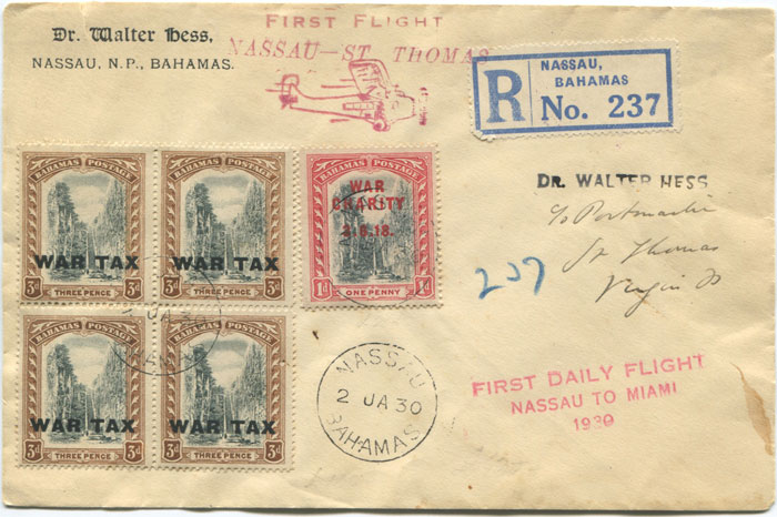 1930 (2 Jan) registered First Flight cover Bahamas - St Thomas via Miami