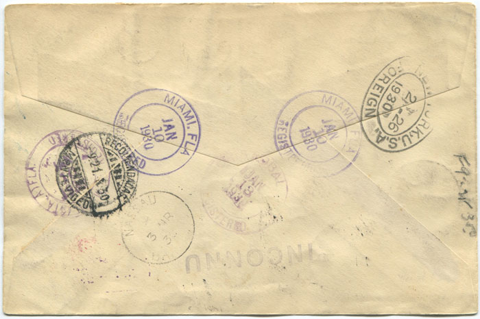 1930 (9 Jan) registered First Flight cover Bahamas - Uruguay via Canal Zone