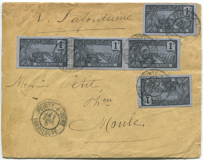 1909 MOULE GUADELOUPE cds on local cover with 10c franking.