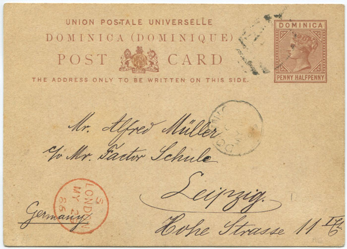 1879 Dominica postal stationery 1½d postal card,