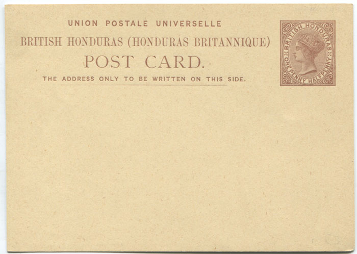 1879 British Honduras 1½d postal stationery card