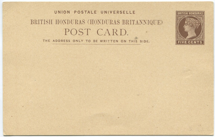 1889 British Honduras 5c postal stationery card