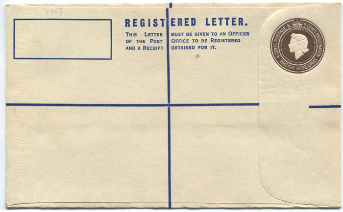1970 (?) British Honduras 4c + 5c postal stationery registered envelope