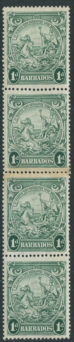 1938-47 Barbados perf 14, 1d blue-green (SG249c),