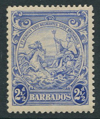 1938-47 Barbados perf 13.5 x 13, 2½d ultramarine with variety, mark on central ornament, (SG251a),