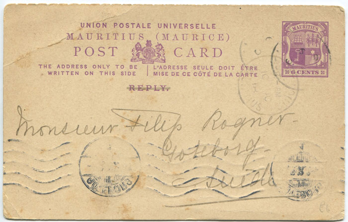 1918 Mauritius postal stationery 6c reply half only of postal card
