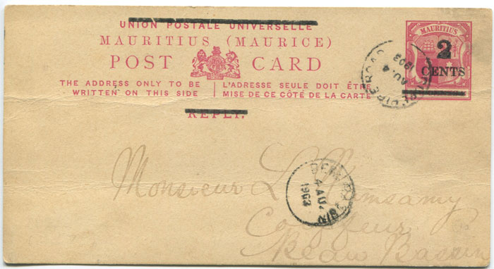 1903 Mauritius postal stationery 2c on 8c reply half