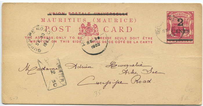 1902 Mauritius postal stationery 2c on 8c postal card