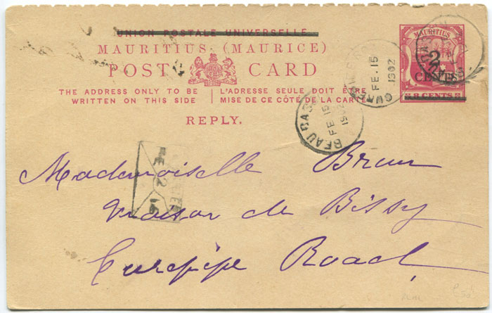 1902 Mauritius postal stationery 2c on 8c reply portion only