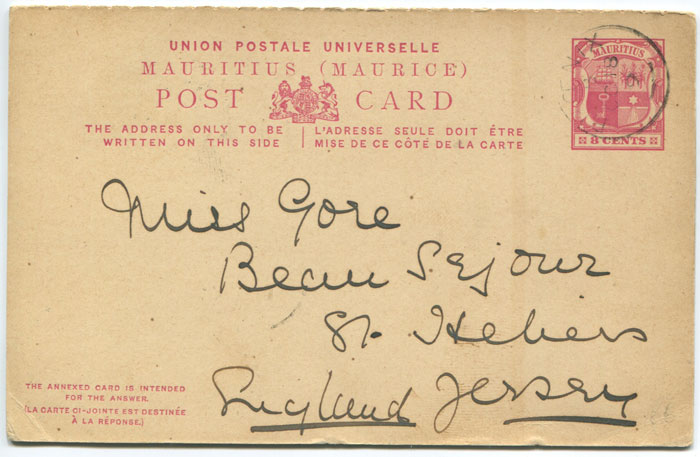 1899 Mauritius postal stationery 8c reply postal card
