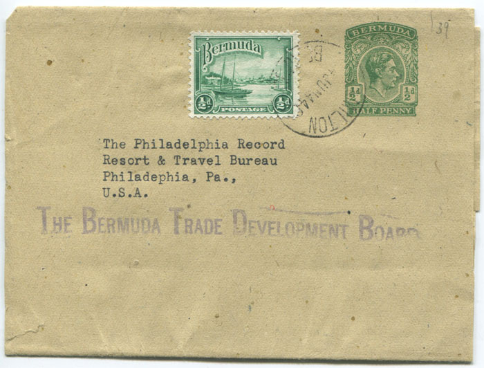 1938 Bermuda ½d postal stationery newspaper wrapper