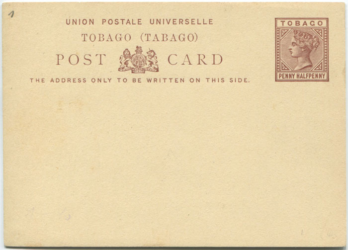 1881 Tobago postal stationery 1½d postal card
