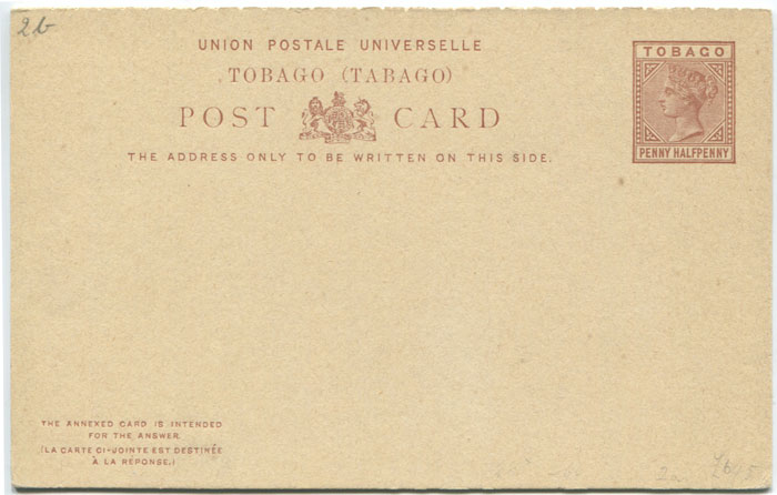 1883 Tobago postal stationery 1½d reply postal card
