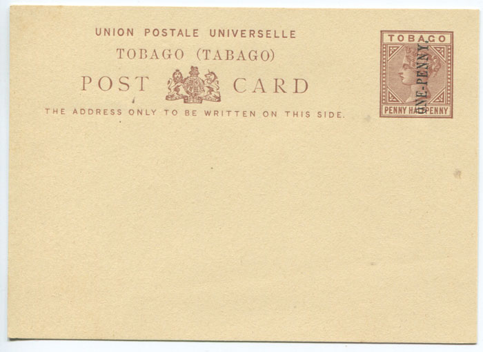 1892 Tobago postal stationery ONE PENNY on 1½d postal card