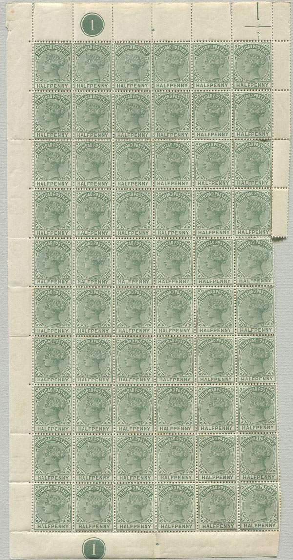 1883-94 Trinidad ½d (SG106), left hand pane of 60,