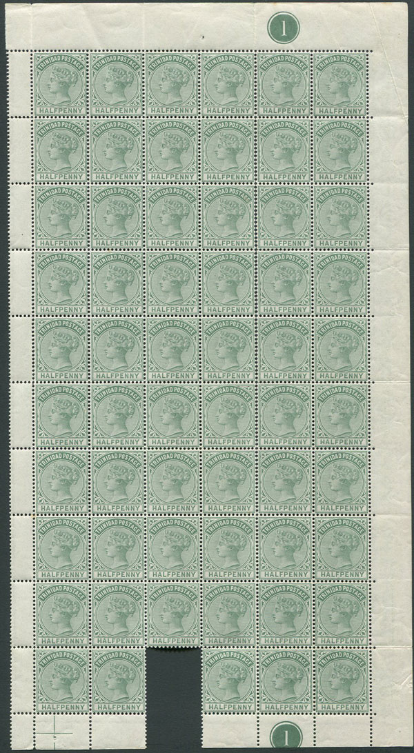 1883-94 Trinidad ½d (SG106), right hand pane of 59,