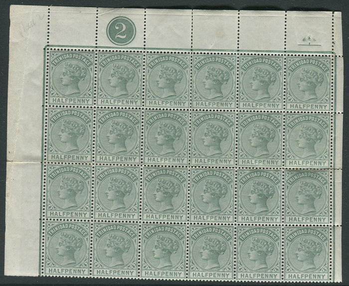 1883-94 Trinidad ½d (SG106), plate 2 block of 24,