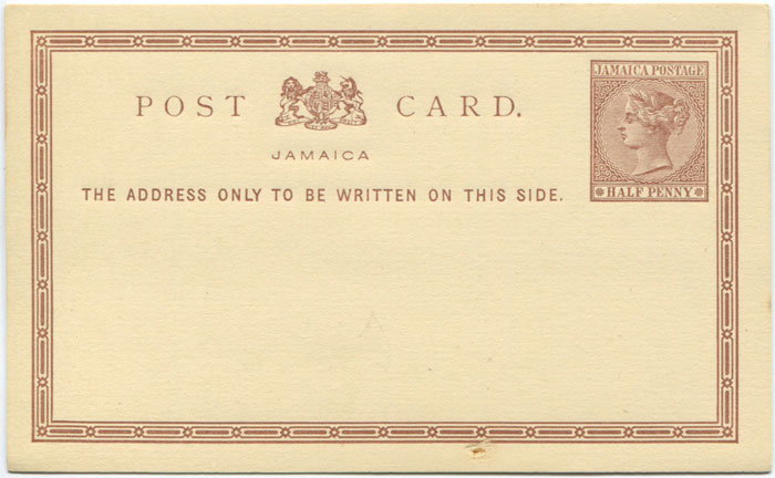 1877 Jamaica postal stationery ½d postal card