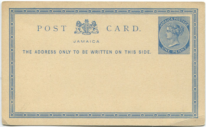1877 Jamaica postal stationery 1d postal card