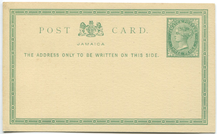 1877 Jamaica postal stationery 3d postal card