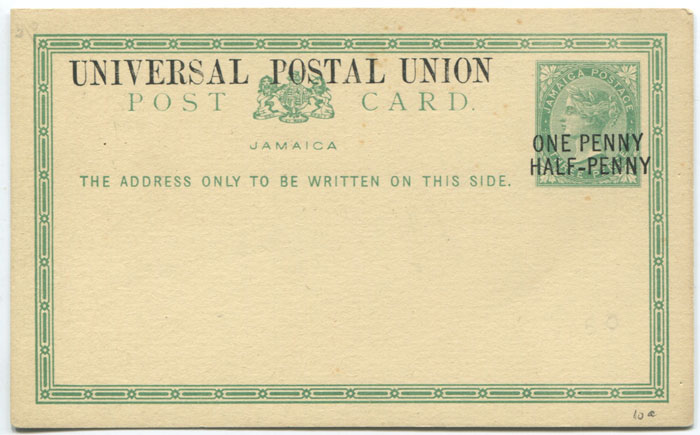 1879 Jamaica postal stationery 1½d on 3d postal card