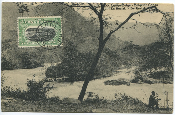 1919 Belgium Congo pictorial 5c postal card with view of La Ruzizi.